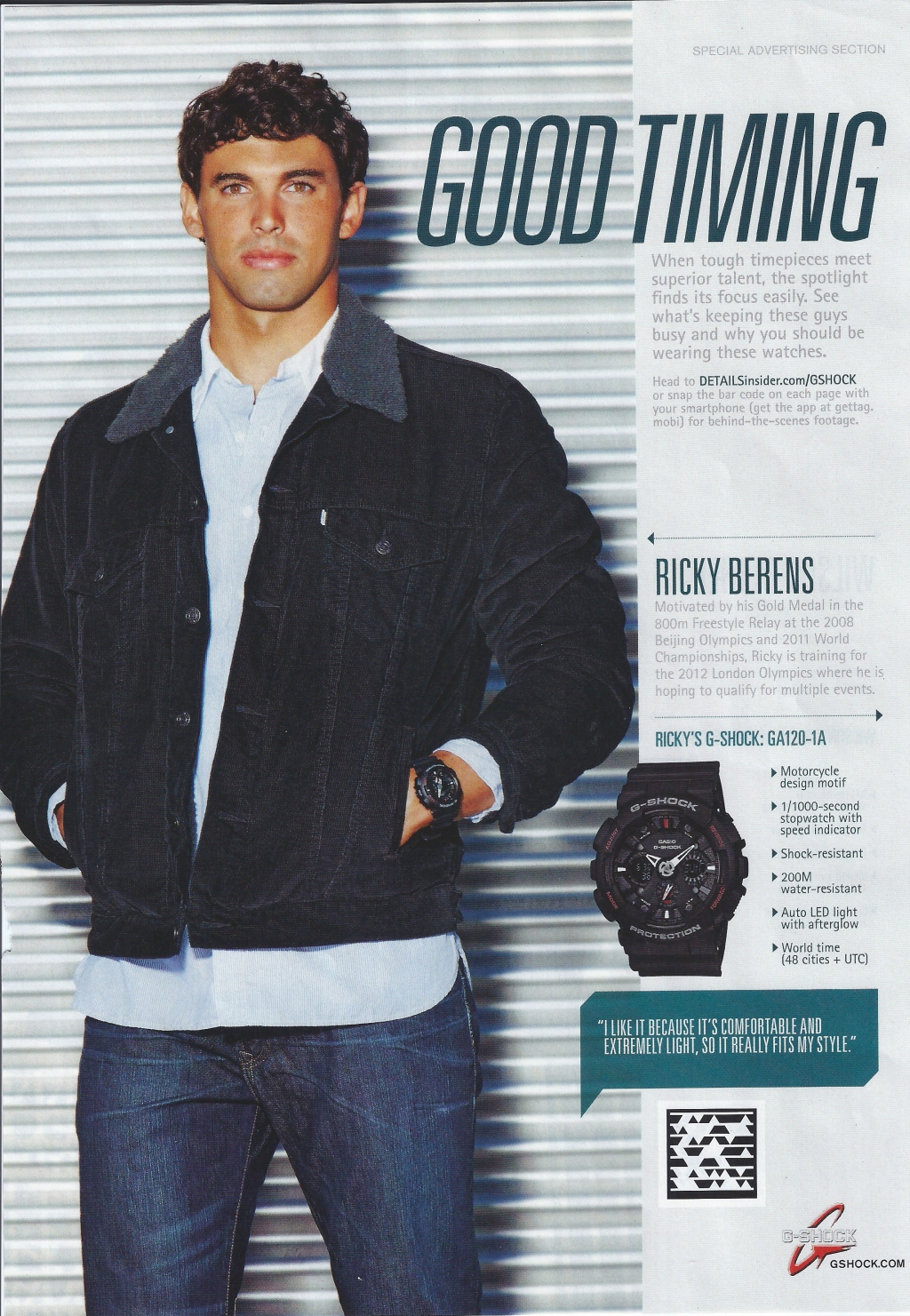 Watch Ad. Good Timing. Ricky Berens for G-Shock