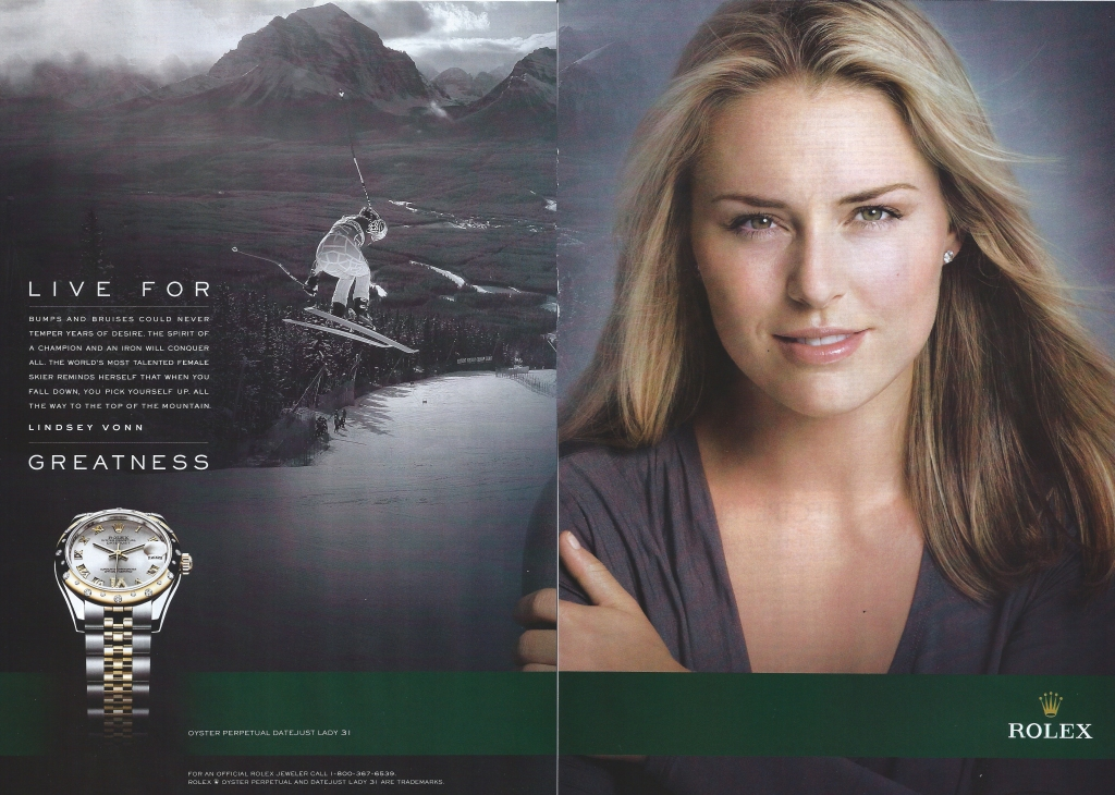 Lindsey Vonn for Rolex. Watch Ad. Live for Greatness