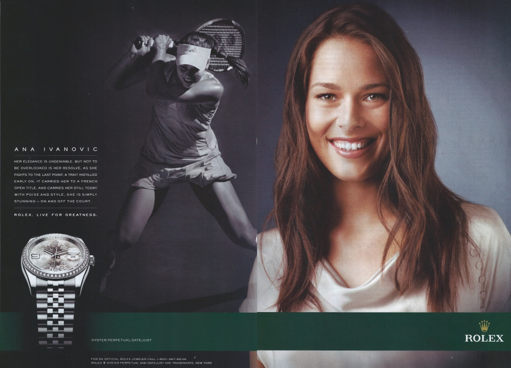 Watch Ad. Ana Ivanovic. Rolex. Live for Greatness