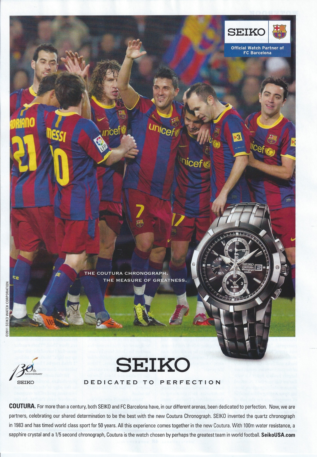 Watch Ad. The Coutura Chronograph. The Measure of Greatness  FC Barcelona for Seiko