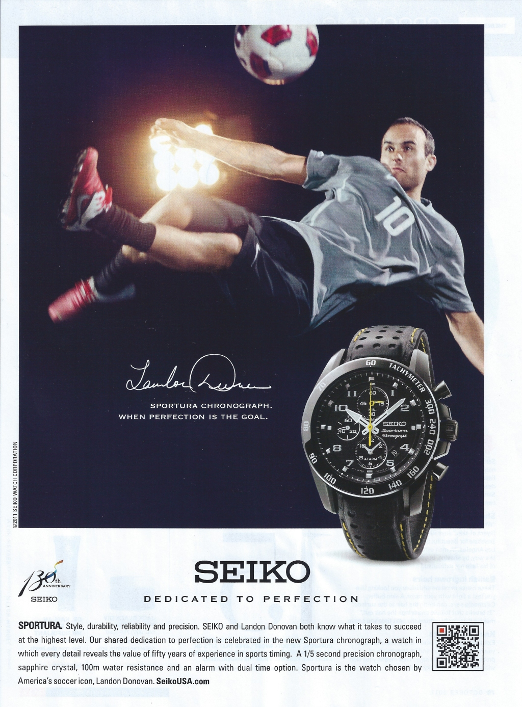 Watch Ad. Sportura Chronograph. When Perfection Is the Goal.   Landon Donovan for Seiko